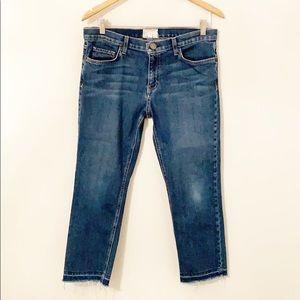 CURRENT ELLIOTT The Cropped Straight Jeans Raw Hem